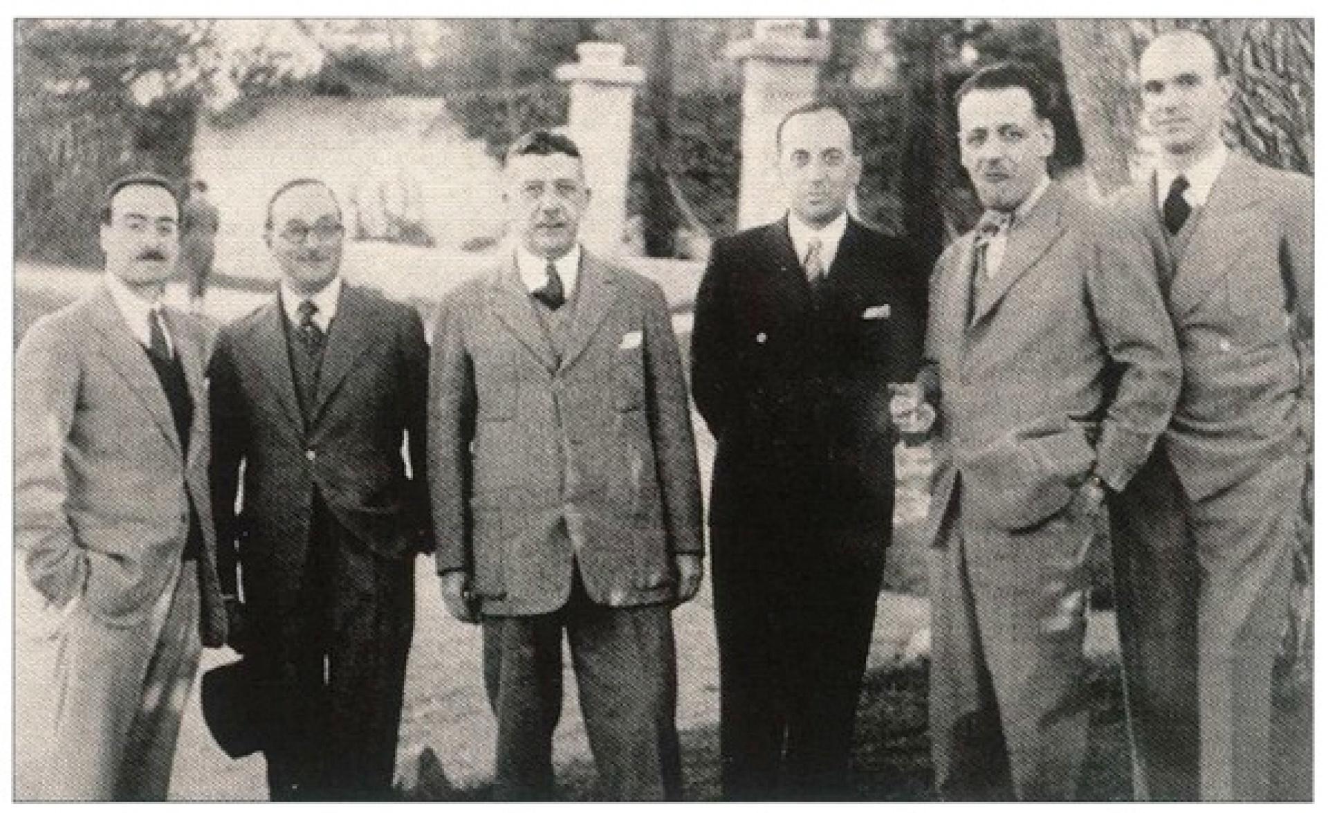 Le Premier Comité avec de gauche à droite:   P. de Demandolx, Ch. Daher, G. Frager, S. Zarifi (Président), R. Jourdan-Barry, A. Terrin
